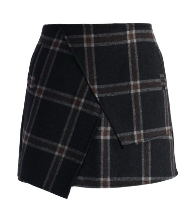 Asymmetric Tartan Wool-blend Bud Skirt Price $36.47