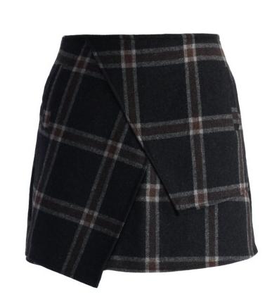 Asymmetric Tartan Wool-blend Bud Skirt Price $36.47